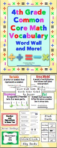 4th Grade Common Core Math Vocabulary Word Wall and More - Math vocabulary is essential! Help your students master the math vocabulary from the Common Core Standards. This 150+ page printable packet contains a printable word wall, flash cards, and vocabulary flip booklets! The flip books are perfect for interactive math notebooks! $