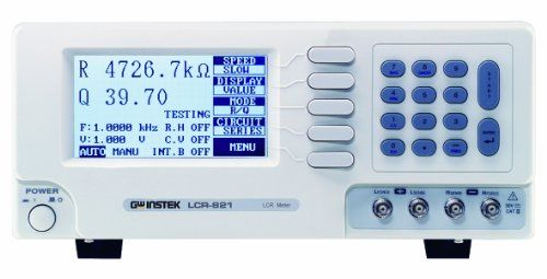 GW Instek LCR-821 High-End Precision Digital LCR Meter, 12Hz to 200kHz Test Frequency  Test frequency: 12Hz to 200kHz, continuously variable frequencies  0.1 percent high Measurement accuracy  100 Sets memory for save/recall of setup state  R/Q, C/D, C/R, L/Q, Z/, L/R test modes