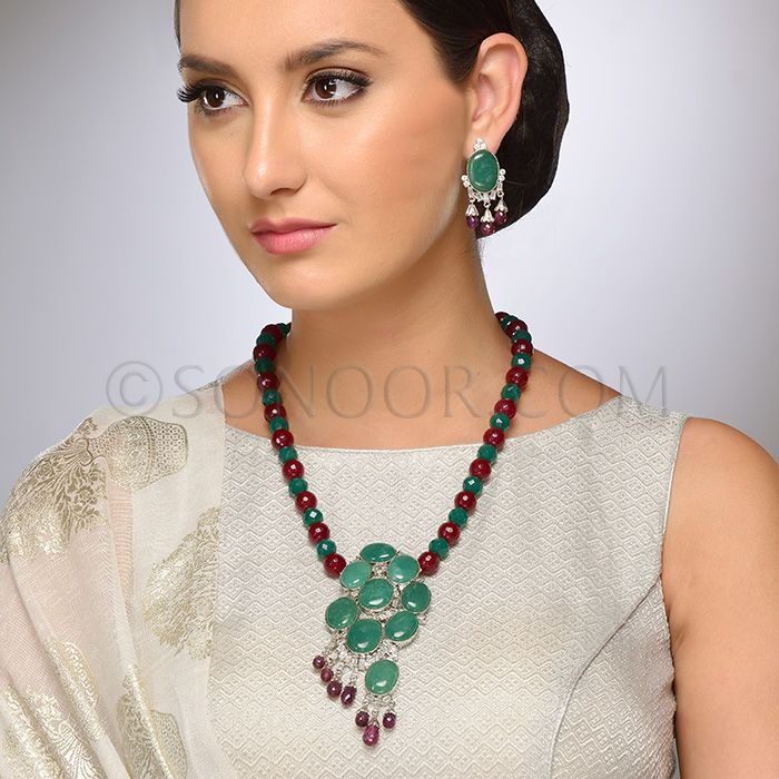 PEN/1/3709 Amyra Pendant Set with Earrings in silver victorian finish studded with green jade, cubic zircons, and red agate stones