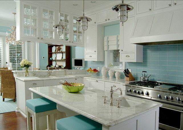 White Kitchen Aqua Accents