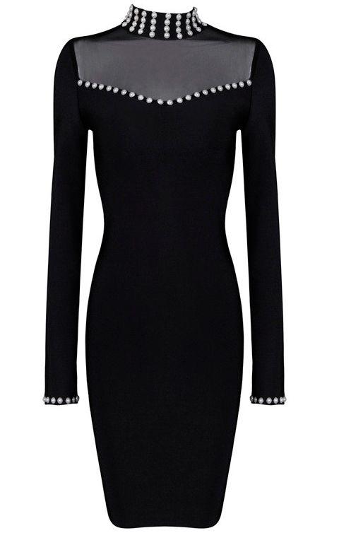 Long Sleeve Pearl Embellished Bandage Dress Black
