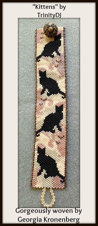 BP-AN-021 Kittens Peyote Pattern Peyote Bracelet by TrinityDJ