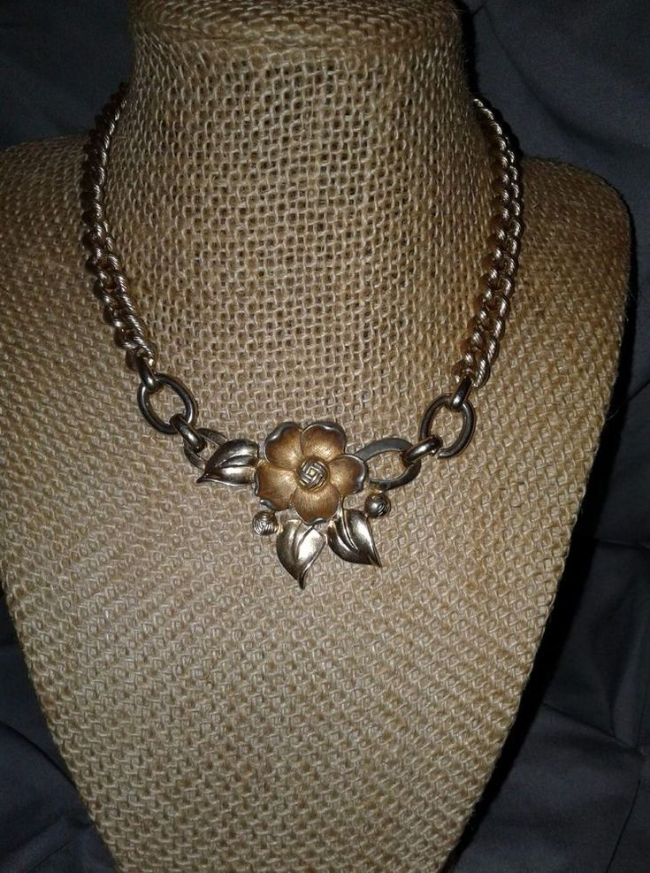 VTG. SPERRY GOLD PLATED RARE 3-D FLOWER CHUNKY CHAIN NECKLACE #Sperry #Chain