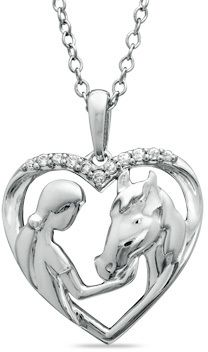ASPCA® Tender VoicesTM Diamond Accent Girl with Horse Pendant in Sterling Silver