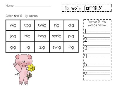 Printables Word Family Worksheets Kindergarten 1000 images about kindergarten word families on pinterest ig family worksheets