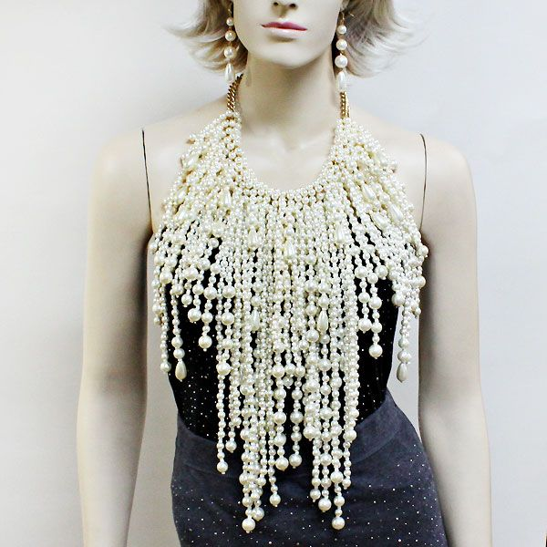 Oversized Fringe Bib Pearl Necklaces 213059 Pearl