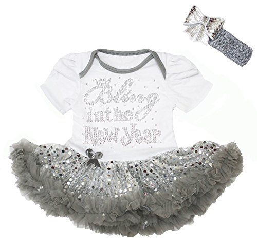 #Bling in the New #Year #Baby #Dress #White #Bodysuit #Grey #Sequins #Tutu #Romper Nb-18m a 1-piece #bodysuit, a headband buttons on the bottom made by lightweight material https://boutiquecloset.com/product/bling-in-the-new-year-baby-dress-white-bodysuit-grey-sequins-tutu-romper-nb-18m/