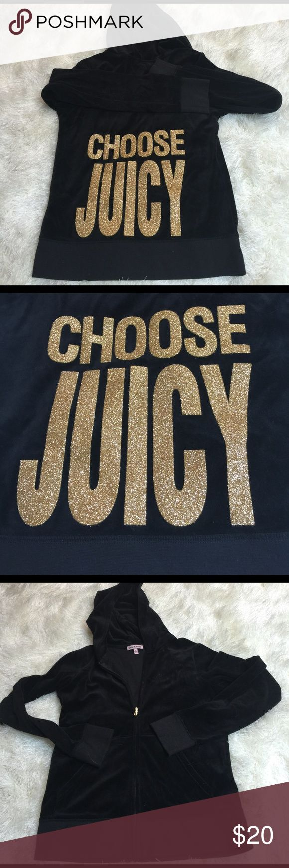 Juicy Couture zip up hoodie sz M Gorgeous! Awesome shape; no rips stains piling or fading! Zips in front. Pockets for hands. Gold J zipper. Back large glitter words. Bundling is fun; check out my other items! No price talk in comments. No trades or holds. Juicy Couture Tops Sweatshirts & Hoodies