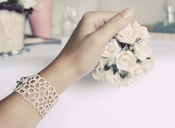 Handmade tatted bracelet in  vintage cream  perfect gift by smaks