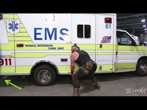 Braun Strowman flips the ambulance with Roman Reigns inside and look at there-2017