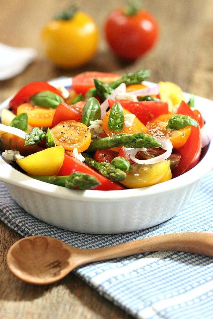 Asparagus Tomato Salad with Gorgonzola | Simply Fresh Dinners