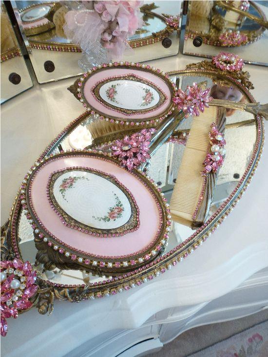 Bejeweled Vanity Dresser Set Pink Roses 4 Piece-Weiss, Juliana,brush, comb, vintage ,tray, mirror,Sparkling, dazzle, opulent,