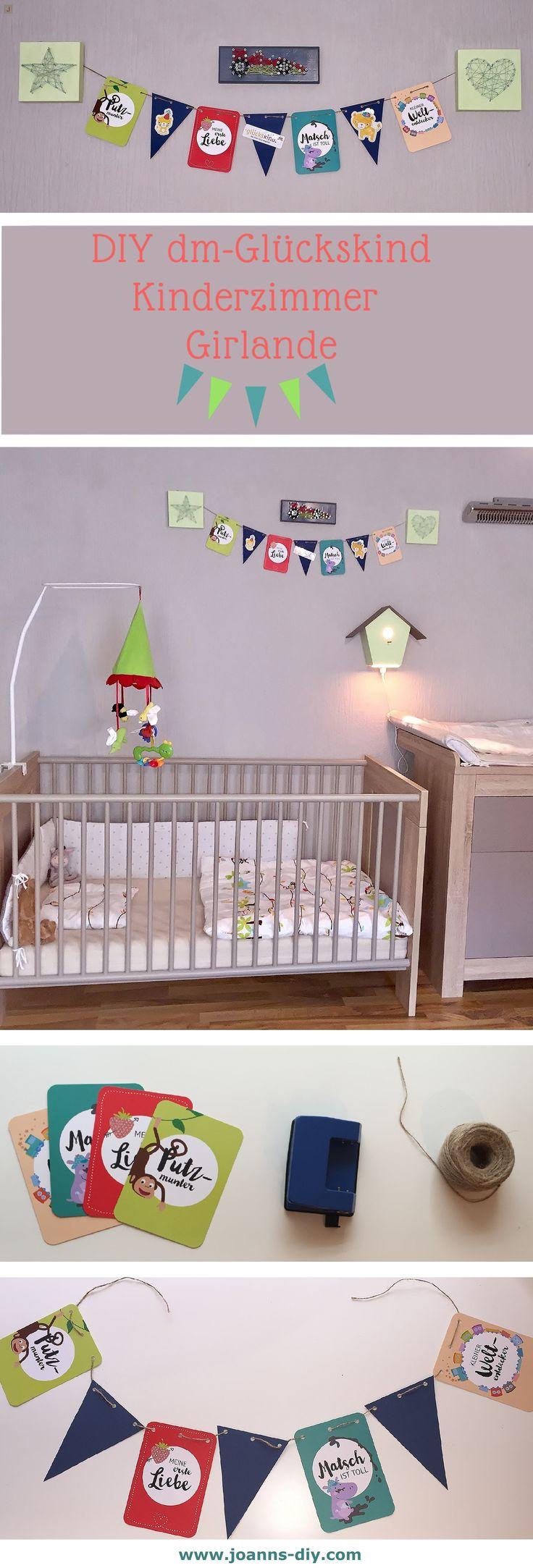 DIY dm-Drogerie Glückskind Girlande fürs Kinderzimmer selber machen #joanns-diy #diy #crafty #dm #glückskind