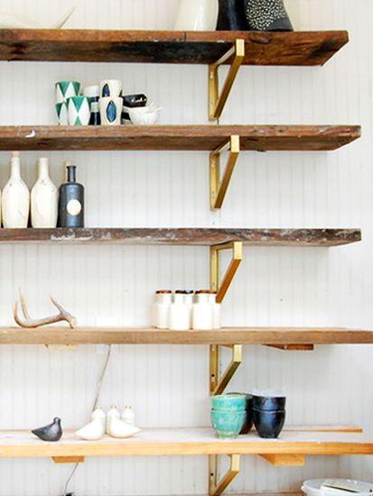 IKEA hack: Reclaimed Wood and Gilded Shelves | Atlanta Honeycomb Studio | Photo: Corynne Pless