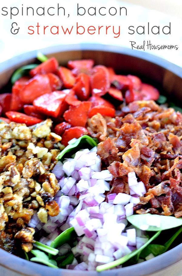 Spinach, Bacon, and Strawberry Salad | Real Housemoms | This salad is the best summer salad!!!