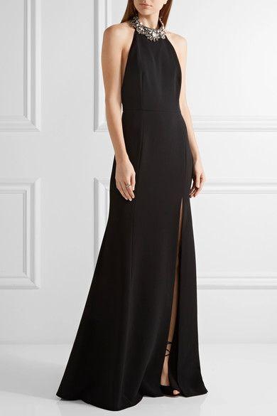 Marchesa Notte - Embellished Crepe Halterneck Gown - Black - US10