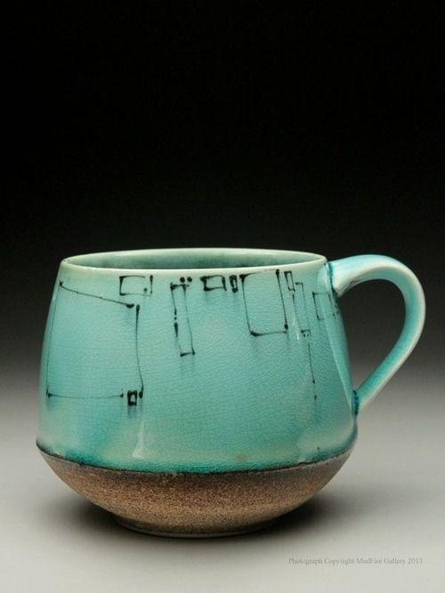 coffeegoeshere:  Vintage turquoise coffee mug