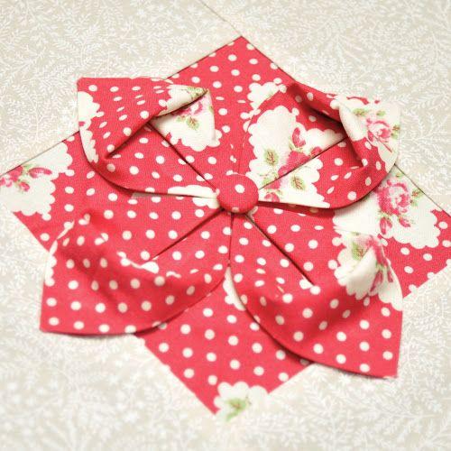 Origami flower quilt block