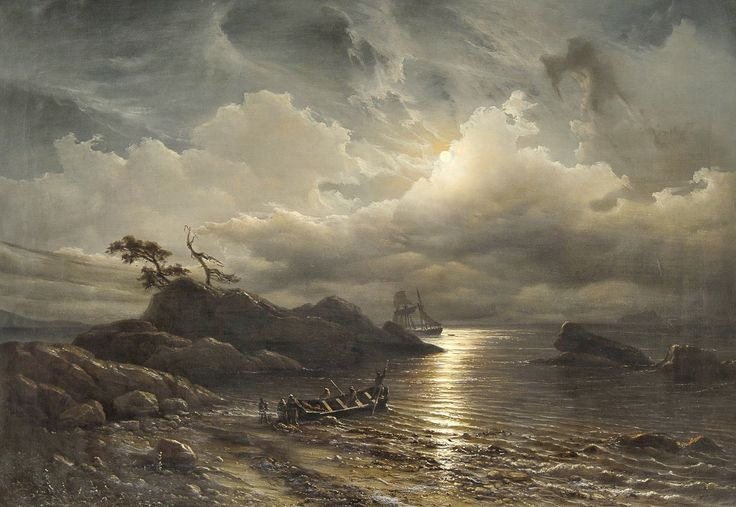 Knud Baade – private collection. Title: Norwegian Shore in Moonlight. Date: 1851