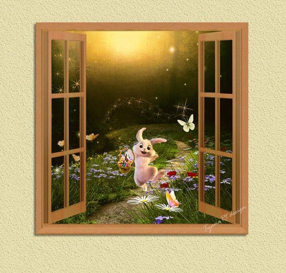 Nursery decor Rabbit nursery Window view Rabbit print by TyanaRt