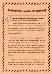 English worksheet: Reading comprehension-Ancient Greek civilization