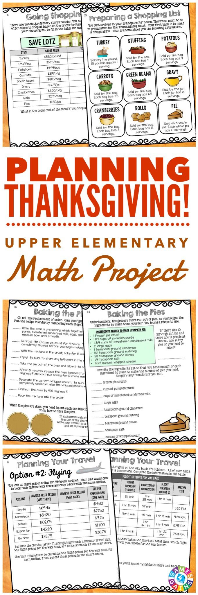 """""""Absolutely Fabulous! These type of projects entertain my students while reinforcing the skills they learned during the year."""" This Planning Thanksgiving Math Project gets students practicing a variety of key math skills while working their way through a fun real-world scenario. Students will have a blast planning the details of their family's Thanksgiving dinner.  They must determine travel plans, plan for their shopping trip and purchase food for Thanksgiving dinner, and much more!"""