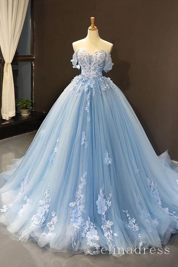 A Line Blue Off The Shoulder Long Prom Dresses Vintage Lace Formal