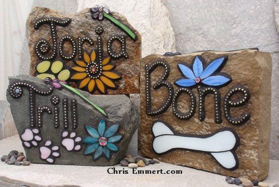 Larger Pet Memorial Garden Stones-1 - Mosaic Custom Order on Etsy, $148.00