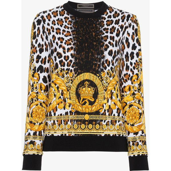 Versace Wild Baroque Print Sweatshirt (17.992.270 IDR) ❤ liked on Polyvore featuring tops, hoodies, sweatshirts, black, patterned tops, versace top, leopard print long sleeve top, versace sweatshirt and versace