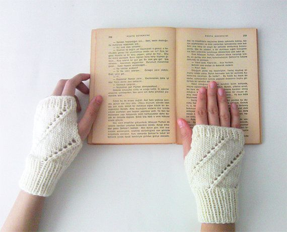 Hand Knit Fingerless Gloves in Ivory  Arm Warmers  Womens