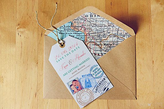 Luggage Tag Stamp Map Travel Themed Destination Wedding Save The D