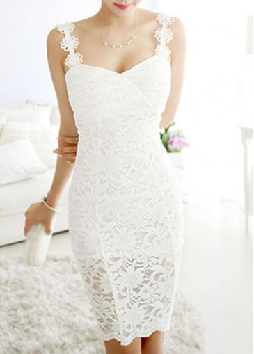 Straps Design White Lace Mini Dress
