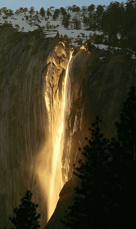 Every year for a few days in the month of February, the sun's angle is such, that it lights up Horsetail Falls in Yosemite, as if it were on fire.