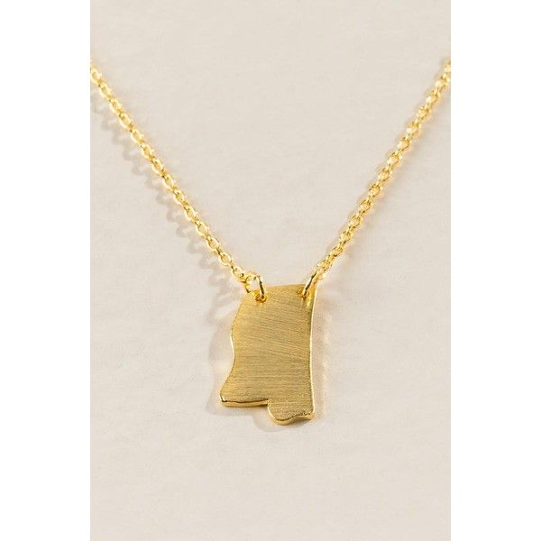 Mississippi State Necklace in Gold - Gold ($18) ❤ liked on Polyvore featuring jewelry, necklaces, gold, layered jewelry, gold jewelry, gold jewellery, double layer necklace and gold state necklaces