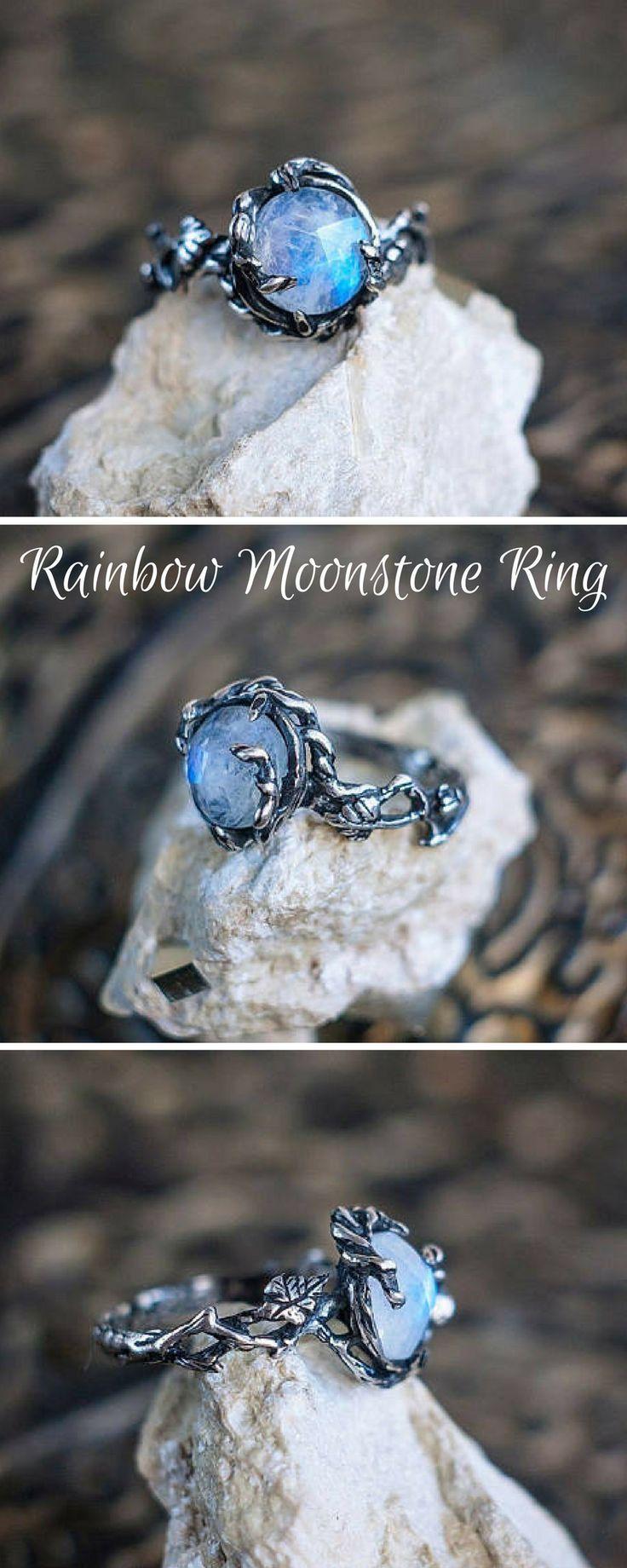 "Sterling Silver Rainbow Moonstone Ring ""Tenere"". Moonstone Engagement Ring, Delicate ring, Flower ring, Branch ring, Wedding ring. #etsy #affiliate #handmade"