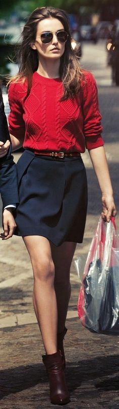 Leighton Meester: Red Knit Jumper, Navy Blue Skirt And Ankle Boots.