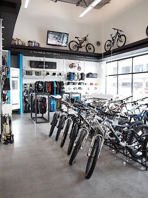 A contemporary bicycle shop; retail design by Hatch Interior Design Inc. in Kelowna, BC.