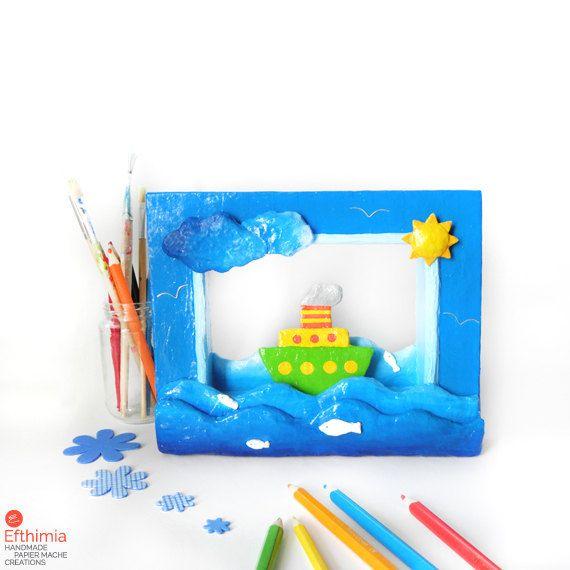 Papier mache kids boat 3d decor wall by EfthimiaPapierMache