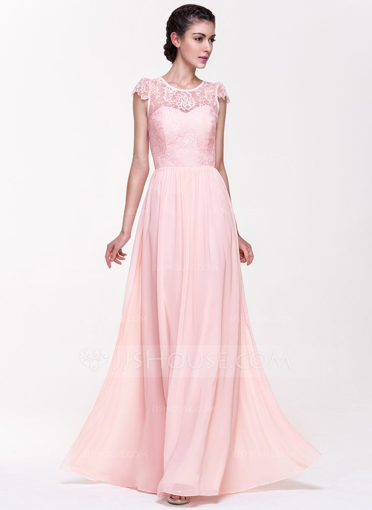 A-Line/Princess Scoop Neck Floor-Length Zipper Up Covered Button Cap Straps Sleeveless No Blushing Pink Spring Summer General Plus Chiffon Lace Bridesmaid Dress