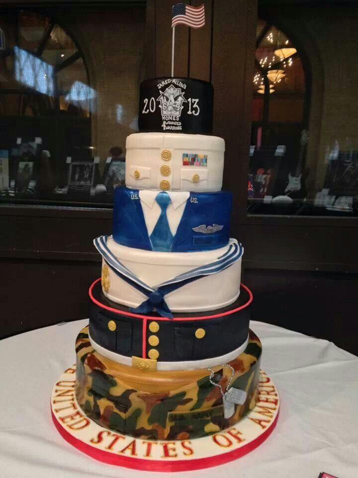 Very classy military cake, did a Pinterest search for military cakes and found this and so many more wonderful ideas.