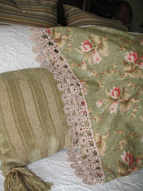 Crocheted edge pillowcase