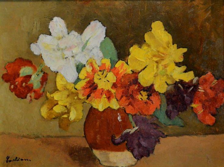 Stefan Luchian - Flori (Anemone) ulei/carton - Muzeul de Artă Craiova