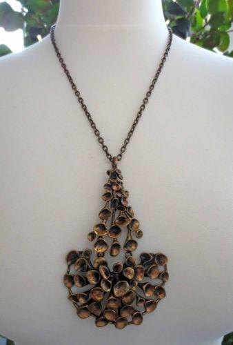 FINLAND Heavy Vintage XXL Bronze REINDEER LICHEN Collier, Necklace, 1970's, 78 g