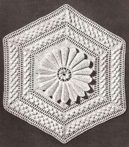 Vintage Crochet MOTIF MEDALLION BLOCK Bedspread Marguerite ...