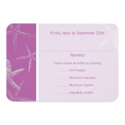 Tropical Wedding Menu Radiant Orchid Starfish Wedding Menu Reply Card