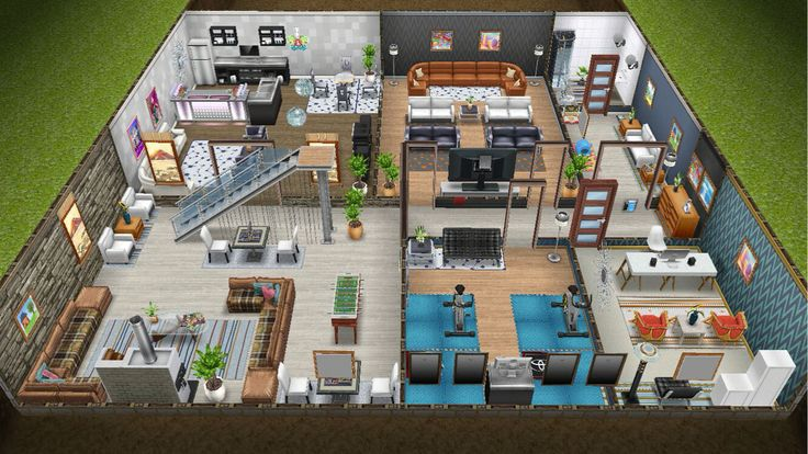 Modern design home for the Justice family - front view basement - in my Sims Freeplay.