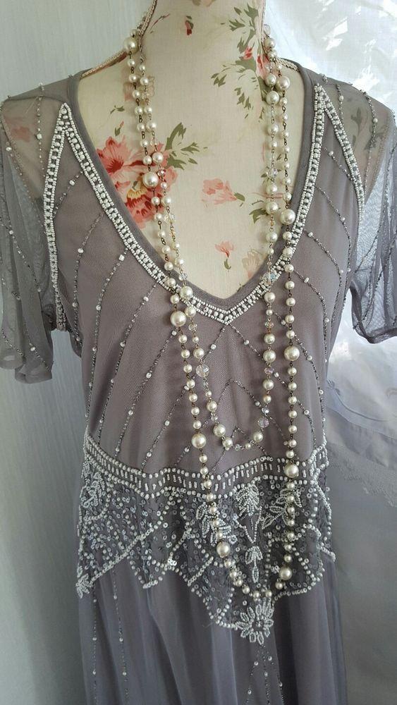 Vtg 1920,s style Gatsby grey beaded flapper wedding dress size 8 #Boohoo #20s #Formal