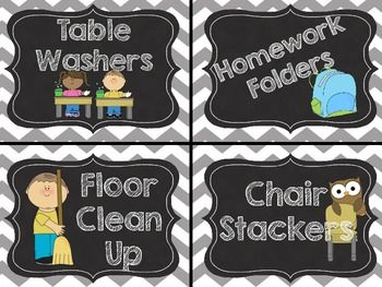 FREE-Chevron Classroom Jobs/Helper Cards