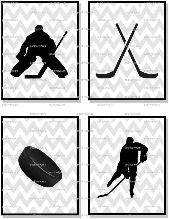 Gray Chevron Hockey Printables - Perfect for Nursery or Big Kid Room! on Etsy, $20.00