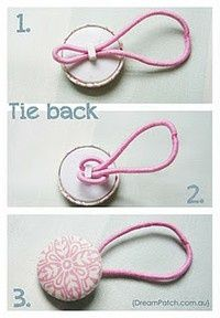I'm pretty sure I've pinned this, but just in case...Great Idea for how to turn a ponytail holder and a button into a tie back.: Curtains Ties, Covers Buttons, Ponytail Holders, Cute Ideas, Hair Ties, Cute Hair, Hair Accessories, Buttons Hair, Ponies Tail